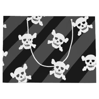 White Skull and Crossbones on Black Stripes Large Gift Bag