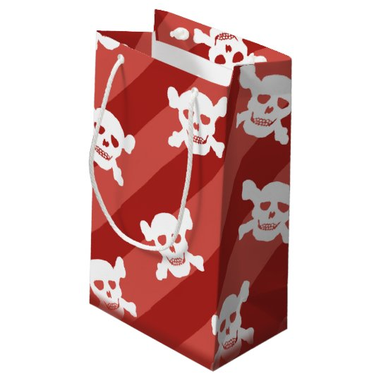 White Skull and Crossbones on Red Stripes Small Gift Bag