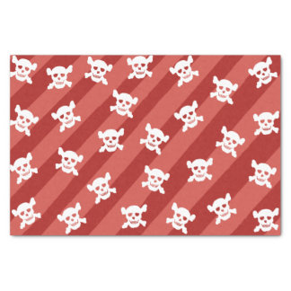 White Skull and Crossbones on Red Stripes Tissue Paper