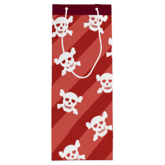 White Skull and Crossbones on Red Stripes Wine Gift Bag