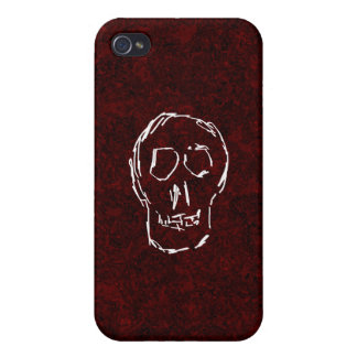 White Skull Sketch On Red and Black Case For iPhone 4