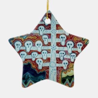 White Skull Tree Ceramic Ornament