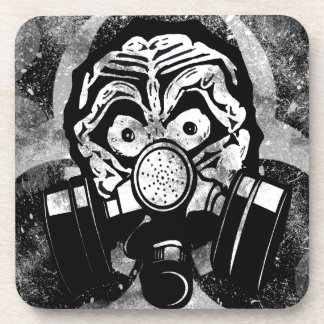 White Skull /w Gas Mask Coaster
