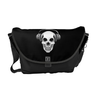 White Skull with Headphones on Black Commuter Bags