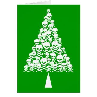 White Skully Xmas Tree Card