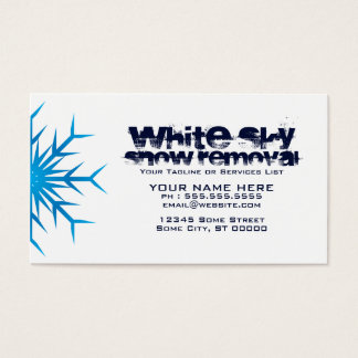white sky snow removal business card