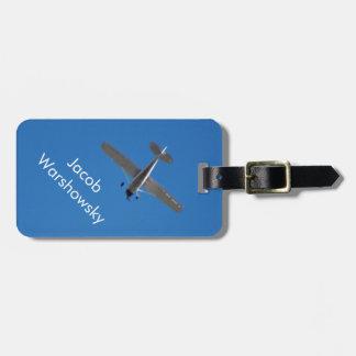 White small plane in a Bright Blue sky Luggage Tag