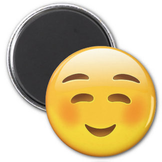 White Smiling Face Emoji 2 Inch Round Magnet