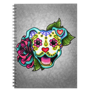 White Smiling Pit Bull Day of the Dead Sugar Skull Notebook