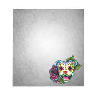 White Smiling Pit Bull Day of the Dead Sugar Skull Notepad
