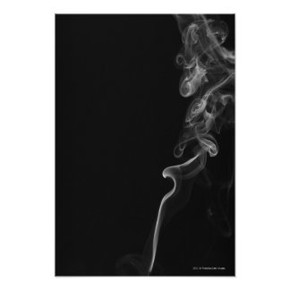 White Smoke Against A Black Background Poster