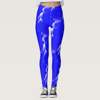 White Smokey Line w/Blue Background Leggings