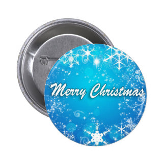 White snow blue Christmas 2 Inch Round Button
