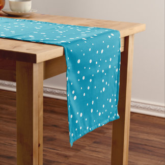White Snow Dots on Blue Background Table Runner