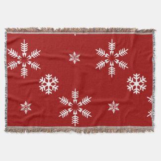 White Snow Flakes Red Background Pattern Christmas Throw Blanket