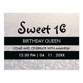 White Snow Glitter Stripes Sweet Sixteen Birthday Postcard