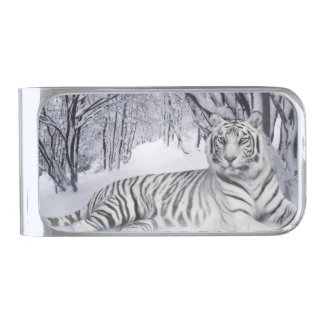 White Snow Tiger Money Clip, Silver Plated Silver Finish Money Clip