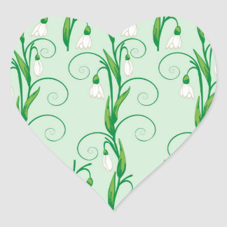 White Snowdrop Flowers Heart Sticker