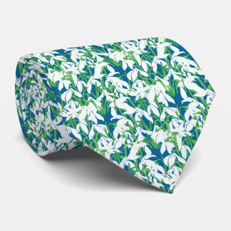 White Snowdrop Flowers on Deep Blue Background Tie