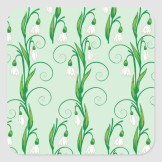 White Snowdrop Flowers Square Sticker