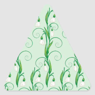 White Snowdrop Flowers Triangle Sticker