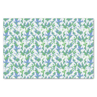 White Snowdrops Pattern on Blue Background Tissue Paper