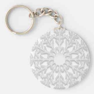 White Snowflake Basic Round Button Keychain