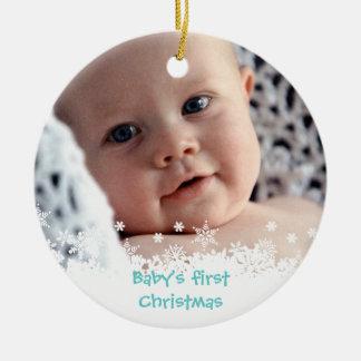 White snowflake blue gingerbread kid custom photo round ceramic ornament