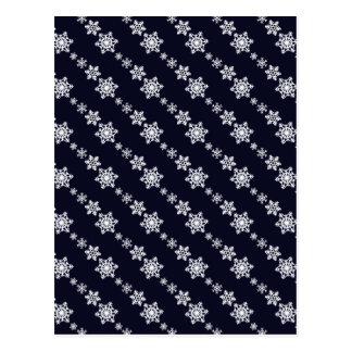 White Snowflake Chain Pattern Dark Blue Postcard
