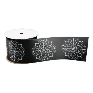 White Snowflake Design Ribbon Satin Ribbon