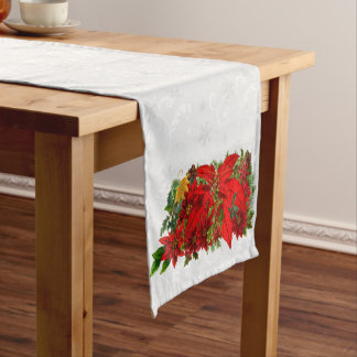White Snowflake Floral Holiday Poinsettia Bouquet Short Table Runner