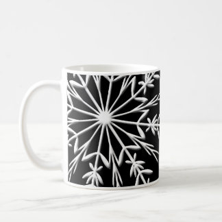 White Snowflake on Black Happy Holidays Coffee Mug
