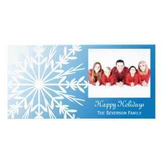 White Snowflake on Blue Christmas Card