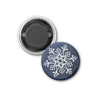 White Snowflake On Blue Magnet