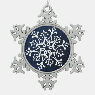 White Snowflake On Blue Snowflake Pewter Christmas Ornament