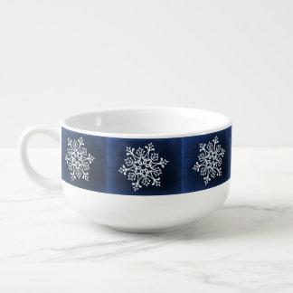 White Snowflake On Blue Soup Mug