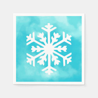 White snowflake on Blue Watercolor Background Paper Napkins