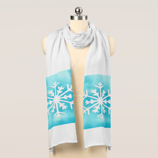 White snowflake on Blue Watercolor Background Scarf