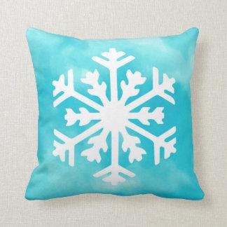 White snowflake on Blue Watercolor Background Throw Pillow