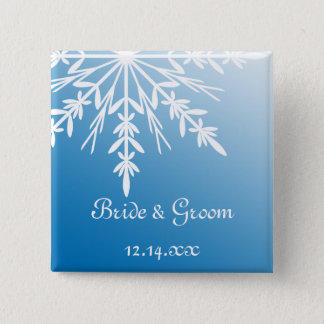 White Snowflake on Blue Winter Wedding 2 Inch Square Button