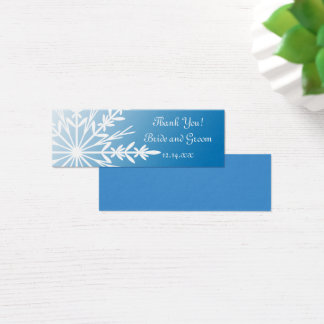 White Snowflake on Blue Winter Wedding Favor Tags