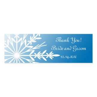 White Snowflake on Blue Winter Wedding Favor Tags Mini Business Card