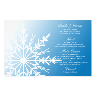 White Snowflake on Blue Winter Wedding Menu Stationery Design