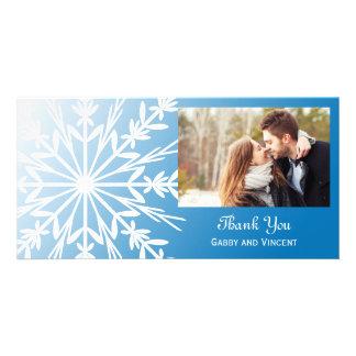 White Snowflake on Blue Winter Wedding Thank You Card