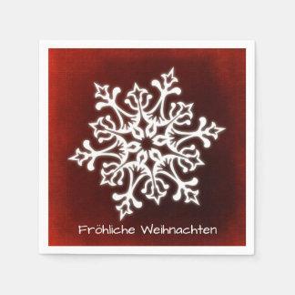White Snowflake on Dark Red Fröhliche Weihnachten Disposable Napkins