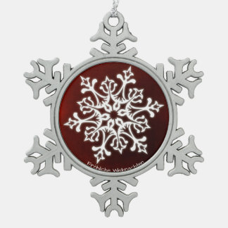 White Snowflake on Dark Red Fröhliche Weihnachten Snowflake Pewter Christmas Ornament