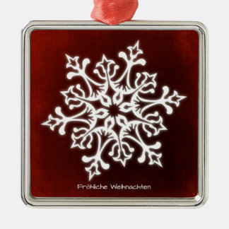 White Snowflake on Dark talk merry Christmas Metal Ornament