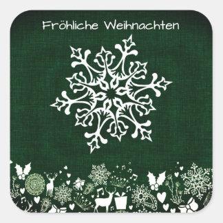 White Snowflake On Green Fröhliche Weihnachten Square Sticker