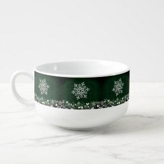 White Snowflake On Green Soup Mug