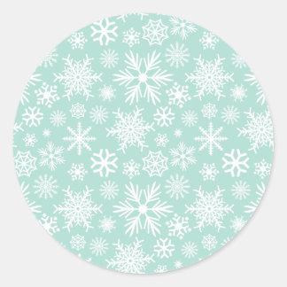 White Snowflake on Mint Green Classic Round Sticker